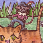 "Pirate Mouse, ATC, 2.5"" x 3.5"", wc & ink"