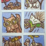 "Steampunk Inchies, 1"" x 1"", wc & ink"