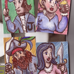 "Pirate Cards!, ATCs, 2.5"" x 3.5"", wc & ink"