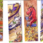"Bookmarks ATC, 2"" x 6"", wc & ink"