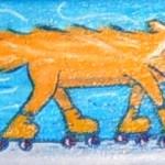 "Cat Skater, 3"" x 6"", acrylic"