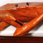 "Crab, 8"" x 12"" x 4"", paper mache"