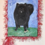 "Diva Dog, 8"" x 10"", acrylic, yarn"