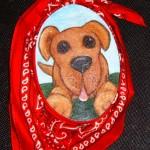 "Dog!, 8"" oval, acrylic, scarf"