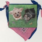 """Two Dogs, 8"""" x 12"""", acrylic, scarves"""