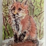 "Red Fox, ATC, 2.5"" x 3.5"", wc & ink"