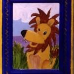 "Lil' Lion, 4"" x 8"", acrylic"