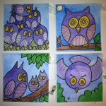 Owls, ATC, 4&quot; x 4&quot;, wc &amp; ink
