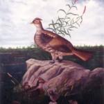 "Pheasants, a replica of a damaged heirloom, 20"" x 36"", acrylic"