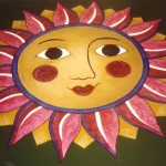 Sun Floor Mural, 6' Diameter, floor acrylic