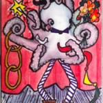 "Zetti Octopus, ATC, 2.5"" x 3.5"", collage, wc & ink"