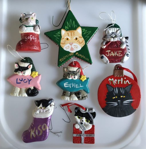 painted cat Christmas tree ornaments